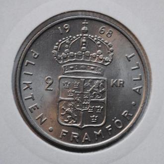 Швеция 2 кроны 1968 г., UNC, 'Король Густав VI Адольф (1950-1973)'