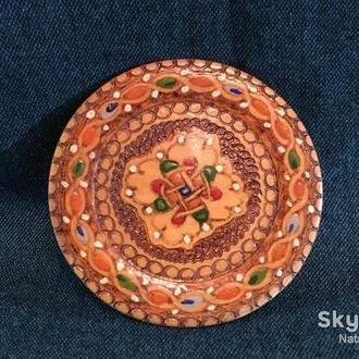 Тарелочка миниатюра деревянная советская 1970 г