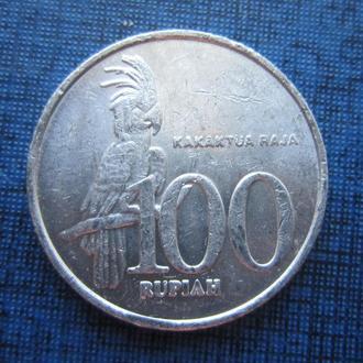 монета 100 рупий Индонезия 2003 фауна попугай