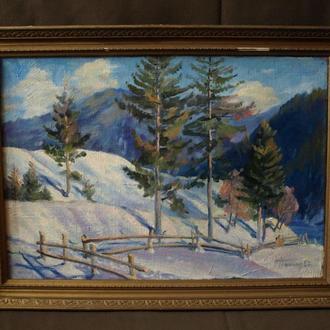 Закарпатский пейзаж Зимовий ранок в горах, 2003г. В.Попович.