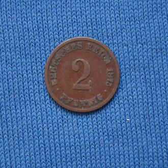 Германия 2 пфеннига 1875 г  Е