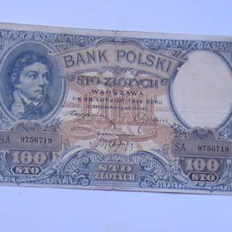 100 Злотых 1919 г Польша 100 Злотих 1919 р Польща