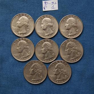 США  погодовка 25 центов квотер 1990 1991 1992 1993 1994  1995 1996 1997 г  P 1