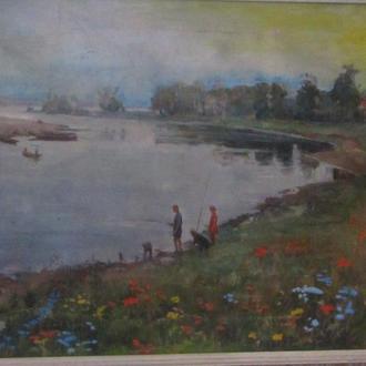 Картина Холст Масло На рыбалке