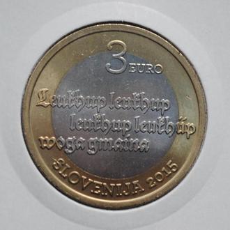 Словения 3 евро 2015 г., UNC, '500 лет первому печатному тексту на словенском языке'