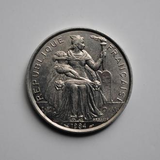 Французская Полинезия 5 франков 1984 г., UNC, 'Заморское сообщество Франции (1945-2016)'