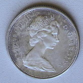 25 Центів 1967 р Канада Срібло Рись 25 Центов 1967 г Канада Серебро Рысь