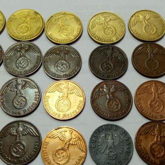 Оригиналы монет 3 рейха. 37-43 годы