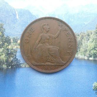 Англия 1 пенни 1937 года