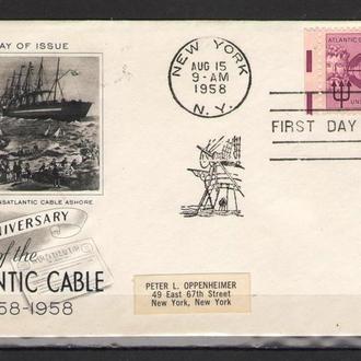Конверт США 1958 ХМК с ОМ СГ Флот Корабли Карты
