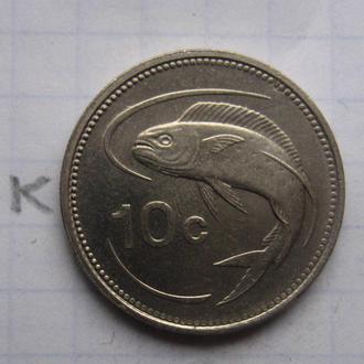 МАЛЬТА 10 центов 1991 г. (РЫБА).