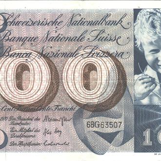 Швейцария 100 франков 1970г. в XF
