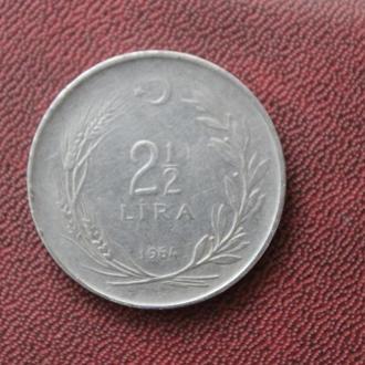 Турция. 2 1/2 лиры. 1964г.