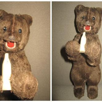 Старинный заводной плюшевый медведь лакомка подвижная пасть опилки СССР