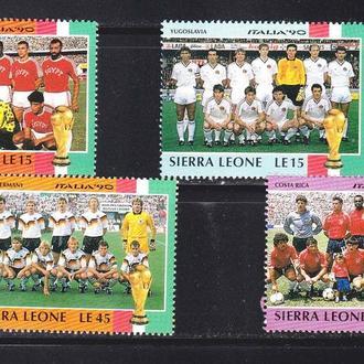 Футбол .  Сьера Леоне 1990 г MNH -