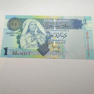 Ливия, 1 динар Каддафи, пресс, unc, оригинал
