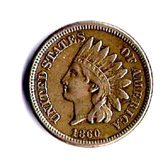 1 цент 1860 г., США.