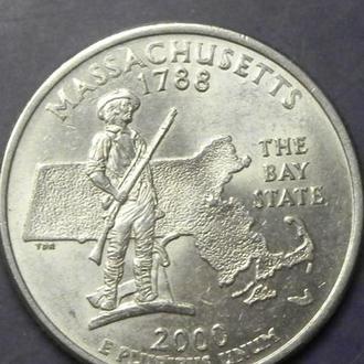 25 центів 2000 D США Массачусетс