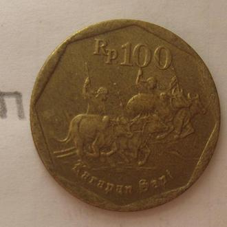 ИНДОНЕЗИЯ, 100 рупий 1994 года (погонщики буйволов).