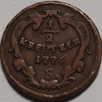 Австро Венгрия  1/2 крейцера 1776 год СОХРАН!!!!!! НЕ ЧАСТАЯ!!!!!!!