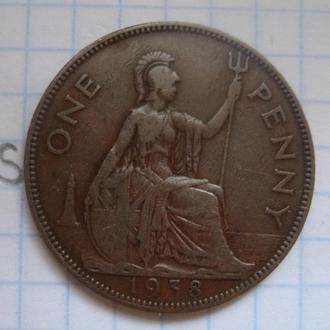 ВЕЛИКОБРИТАНИЯ. 1 пенни 1938 года (ГЕОРГ 6-й).