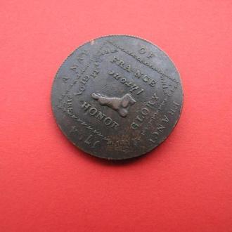 1/2 Пенни 1794 Карта Франции, Мидлэссекс,(22) Великобритания Токен