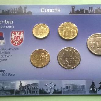 Набор монет СЕРБИЯ ( в т.ч. 10 и 20 динар юбилейные ) пластик картон блистер запайка набір СЕРБІЯ