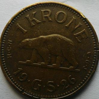 Гренландия 1 крона 1926 год  РЕДКАЯ