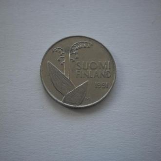 Найдешевші монети. Монета старого зразка. Квітка Конвалія. Ландиш. Фінляндія. 10 пенні. 1991 рік.