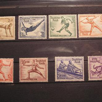 Німеччина 1936 Mi 609-616 **/(*)616 Олимпиада Спорт Лыжи Кінь Коні Лошадь байдарка 100ЄВРО Оригінал