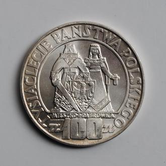 Польша 100 злотых 1966 г., BU, 'Тысячелетие Польши'