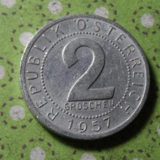 Австрия 1957 год монета 2 гроша !