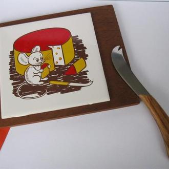 Красивая сервировочная доска и нож для сыра!Мышь с сыром!