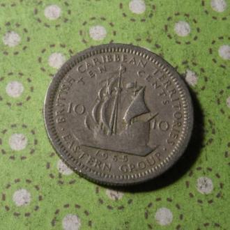 Карибские о. 1955 монета 10 центов Карибы парусник !