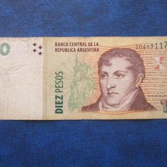 Банкнота 10 песо Аргентина 2012 Мануэль Бельграно 20469117 Р