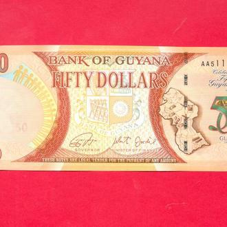 Боны Америка Гайана 50 долларов 50 ЛЕТ НЕЗАВИСИМОСТИ 2016 г.