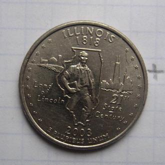"""США, 25 центов 2003 года (ИЛЛИНОЙС) """"Д""""."""