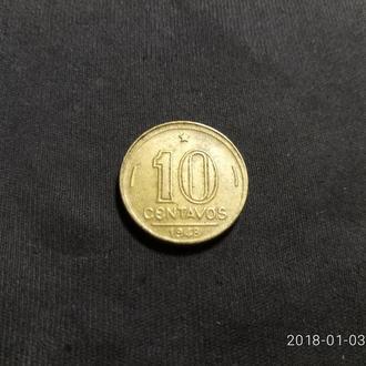 Бразилия 10 сентаво 1948 год