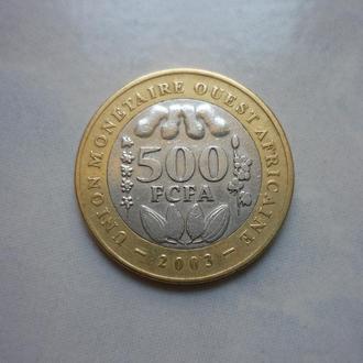 Западно Африканский Союз 500 франков 2003 биметалл фауна