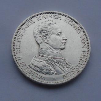 1914 г - 3 марки Германии,Вильгельм в мундире,серебро