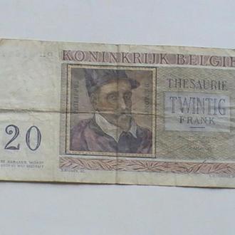 20 Франків 1956 р Бельгія 20 Франков 1956 г Бельгия