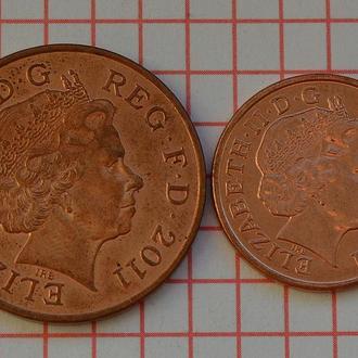 Великобритания, 1 и 2 пенса выпуска 2011, всего 2 монеты