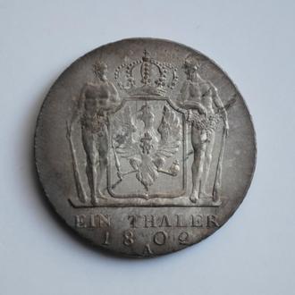 Пруссия 1 талер 1802 г., XF+, 'Король Фридрих Вильгельм III (1797 - 1840)'