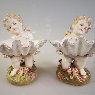 ангелы статуэтка фигурка путти Фарфор солонка икорница ваза 2шт. Доставка бесплатно !