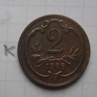 АВСТРО-ВЕНГРИЯ, 2 филлера 1908 г.