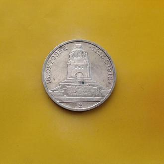 Саксония 3 марки 1913 г. Серебро