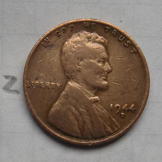 """США, 1 цент 1944 года """"D""""."""