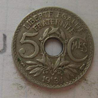 Франция 5 сантимов 1931 года.