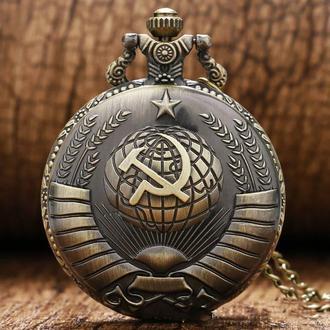 Карманные часы  с цепочкой , крышка с гербом СССР