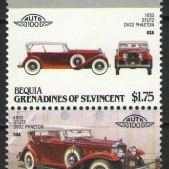 Бекия Гренадины С.Винсент ** Автомобили США STUTS DV32 PHAETON 1933 MNH
